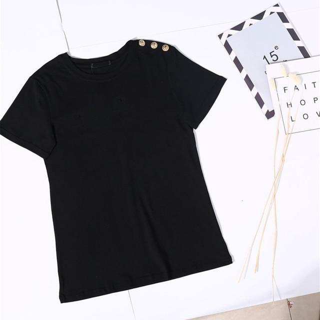 100% Cotton Women Cotton Shirts Summer Letter T-Shirt Female Short Sleeve Tees Ladies Casual Tops O Neck Harajuku Shirt 2