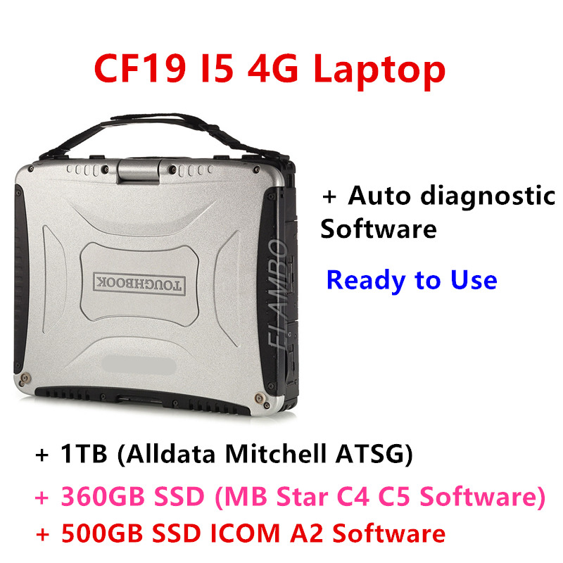 Auto Diagnostic Laptop For Panasonic CF 19 CF19 Cf-19 CF-19 Toughbook Used For Alldata Mitchell Mb Star C4 C5 Icom A2 Next Tool