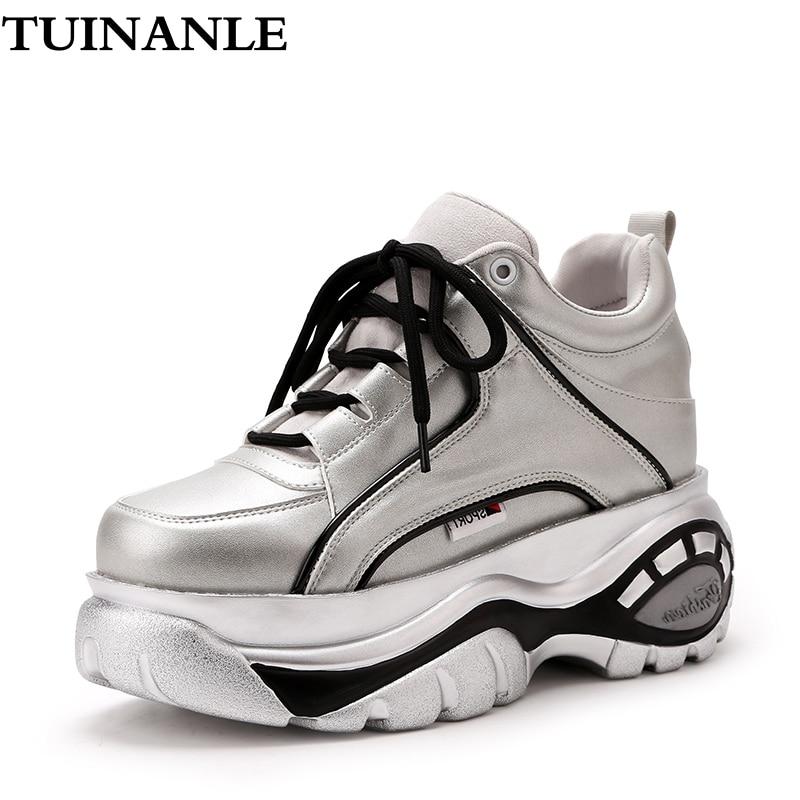 Женские кроссовки на платформе TUINANLE, черные, серебристые, зимние, на танкетке, вулканизированные, для осени, 2020|Кроссовки и кеды|   | АлиЭкспресс