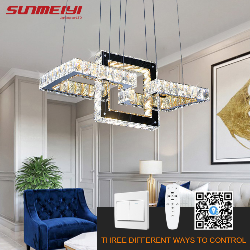 Nordic Dimmable Chandeliers Rings Led Kitchen Chandelier APP Control Industrial Crystal Light For Kids Bedroom Dining Room Loft
