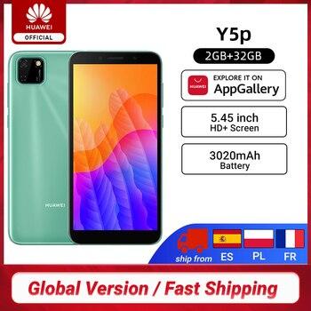 Перейти на Алиэкспресс и купить Новая глобальная версия Huawei Y5P смартфон 2 ГБ 32 ГБ 5,45 ''Scree 8MP HD Задняя камера 3020 мАч разблокировка лица Мобильные телефоны EMUI 10,1