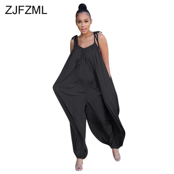 Sleeveless Plus Size Rompers Womens Jumpsuit Spaghetti Strap Loose One Piece Jumpsuit 2020 Backless Side Pockets Solid Playsuits