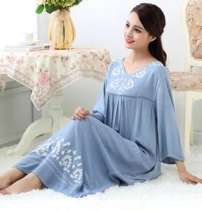Image 3 - Spring and Autumn Sleepwear Womens Cotton Long Nightgown Loose Comfortable Nightwear Long Sleeve Night Dress Women Sleepshirts