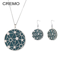 Cremo Stainless Steel Long Necklace Star Interchangeable Leather Pendant Drop Earrings Jewelry Set Long Chain Necklace for Women