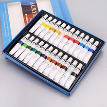 24 色アクリル塗料セット 12 ミリリットルチューブ絵画顔料手塗装壁ペイントアーティスト DIY 顔料粉末
