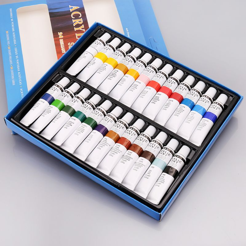 24 Colors Acrylic Paints Set 12ml Tubes Drawing Painting Pigment Hand-painted Wall Paint For Artist DIY Pigment Powder