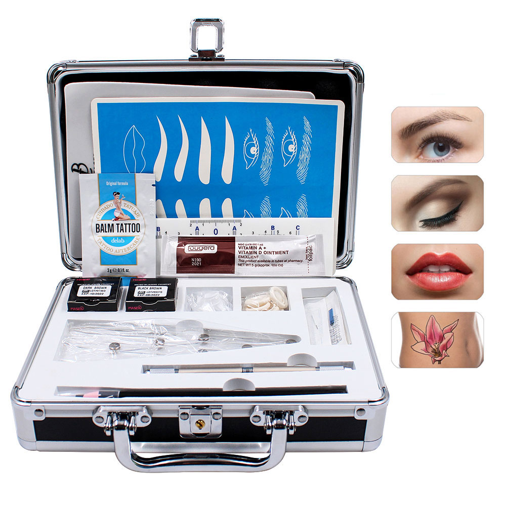 Biomaser 1 Set Practical Pigments 3D Tebori Microblading Kits Eyebrow Tattoo Makeup Pen Needle Paste Skin For Beginners Body Art