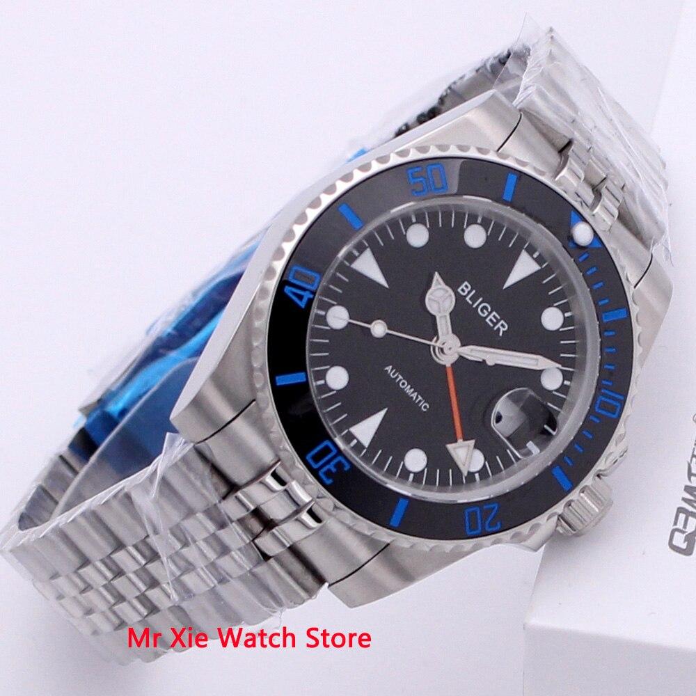 Bliger 40mm Automatic Mechanical Watch Men Business Sapphire Crystal GMT Watch Luminous Waterproof Calendar Male Wristwatch