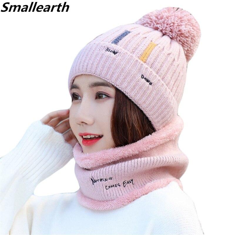 New Winter Women Knitted Hat Scarf Sets Female Plus Velvet Thick Windproof Beanies Cap Scarf Set Girls Casu Plush Snow Caps 2pcs