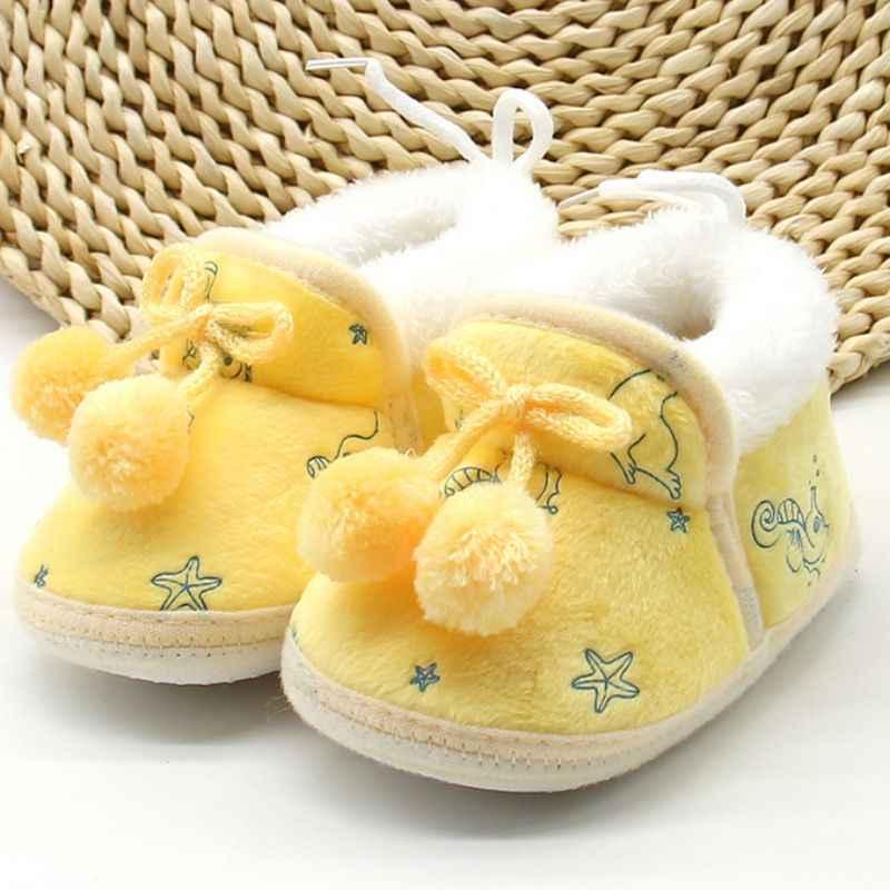 Sweetborn bebé niñas princesa Bowknot invierno cálido primer caminante suave suela infantil niños niña Cack zapatos