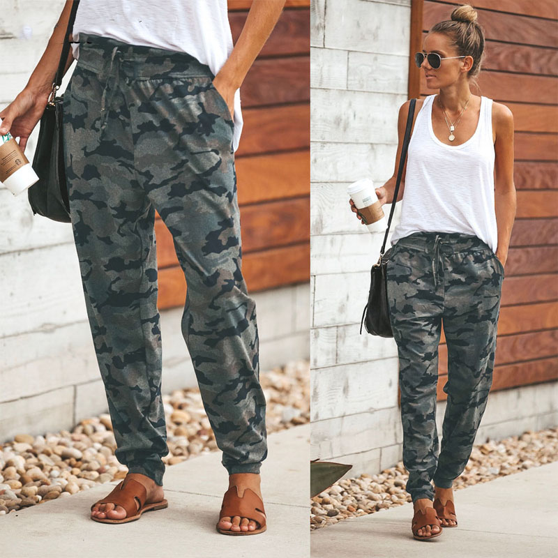 Casual Camouflage Long Pant Women Pocket Bandage Full Length Trousers Female Sporty Workout Loose Running Pants With Pockets