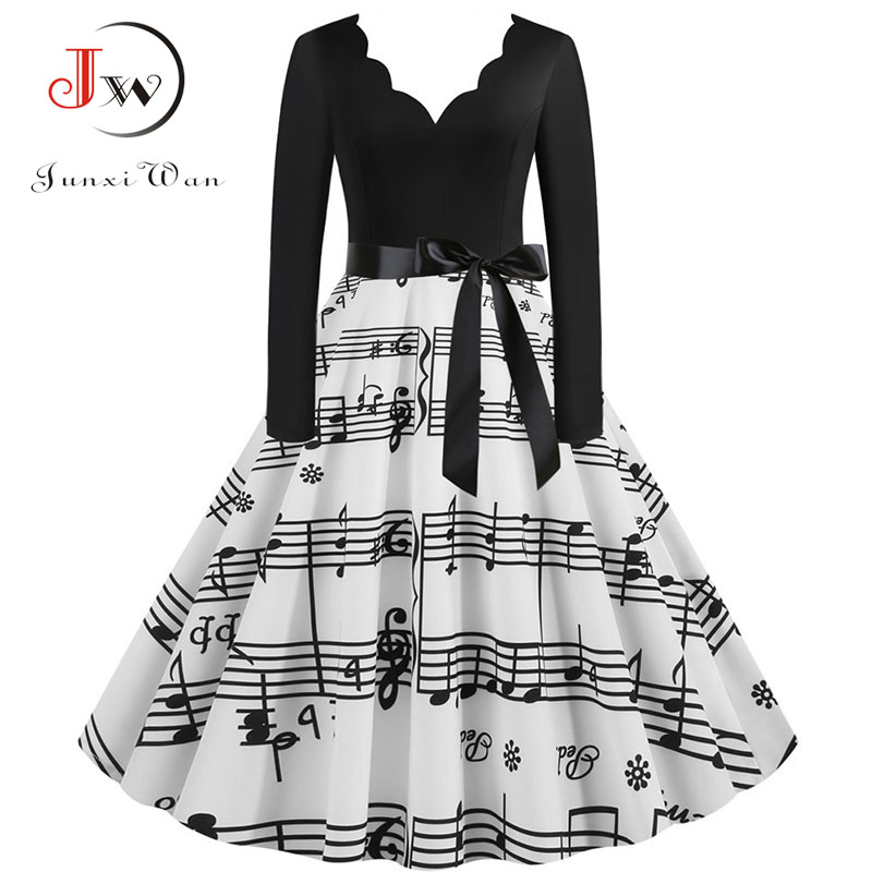 Women Long Sleeve Winter Vintage Dresses Sexy Black Music Note Print V-neck Rockabilly Pin Up Party Dress Vestidos Plus Size