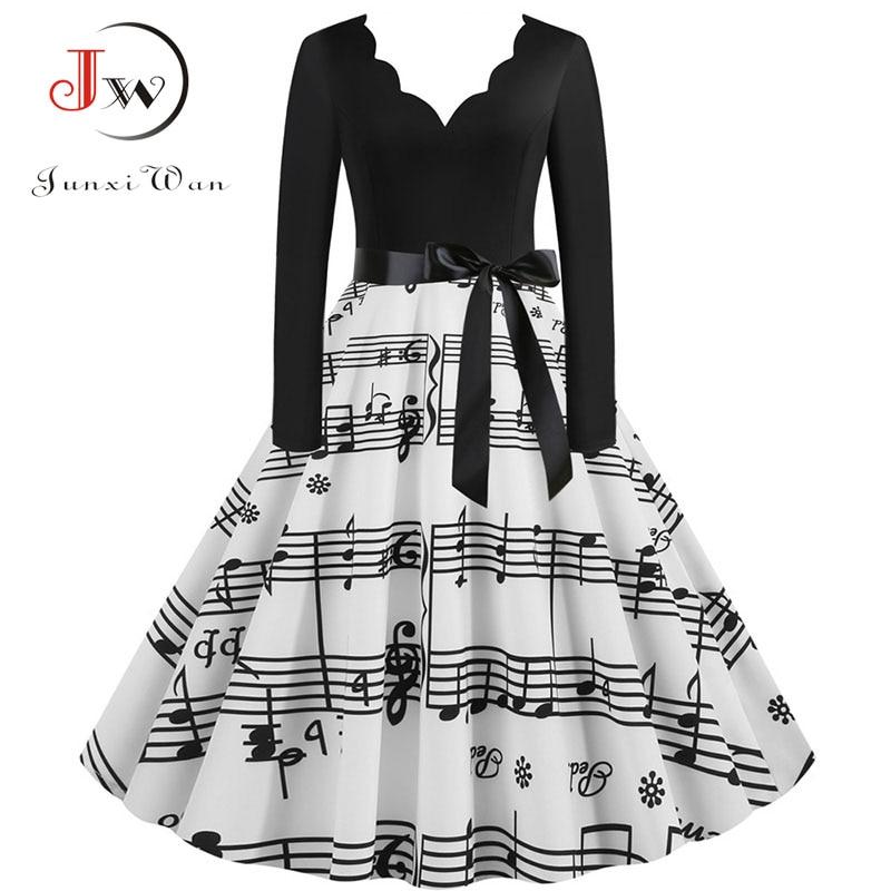 Women Long Sleeve Winter Vintage Dresses Sexy Black Music Note Print V-neck Rockabilly Pin Up Party Dress Vestidos Plus Size