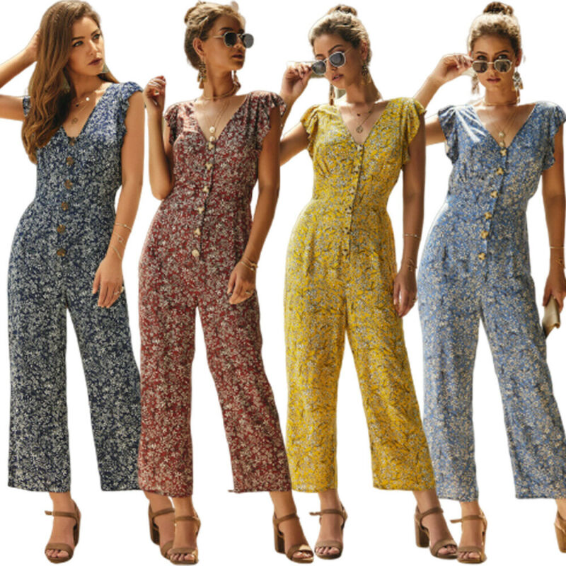 Fashion Women Jumpsuit 2020 Summer Clubwear Floral Playsuit Bodycon Party Jumpsuit Ruffle Woman Romper Trousers One Piece Romper