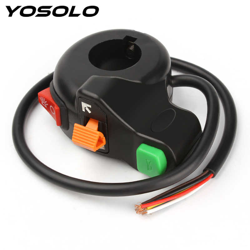 Yosolo Lampu Depan/Lampu Sein/Horn 3 In 1 Universal Auto On-Off Saklar Motor Scooter Kotoran ATV Stang Switch