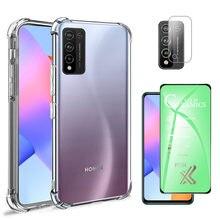 Case On Honor 10 X lite 2020 coque Transparente + verre de protection en céramique souple Huawei 10Xlite housse de téléphone en Silicone Honor 10X life
