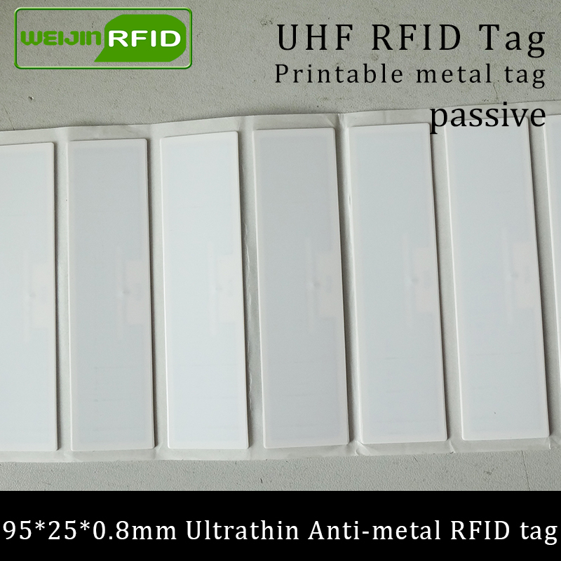 Ultrafinos tag anti-metal RFID UHF 915mhz 868m Impinj R6 EPCC1G2 ISO18000-6C 95*25 ativos fixos * 0.8 milímetros PET passiva RFID Etiqueta PET
