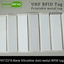 UHF RFID ультратонкая антиметаллическая бирка 915 МГц 868 м Impinj R6 EPCC1G2 fixed основные средства 95*25*0,8 мм ПЭТ Пассивная RFID PET этикетка