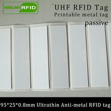 UHF RFID Ultrathin anti-metal tag 915mhz 868m Alien H3 EPCC1G2 ISO18000-6C fixed assets 95*25*0.8mm PET passive Label