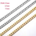 Цепочка Из Нержавеющей Стали для ожерелья или браслета шириной 5,5/6,5/7,5 мм, без выцветания, 1 шт.