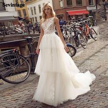 Шикарный boho Свадебное платье для невесты с кружевными аппликациями