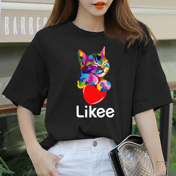 likee app t-shirt heart cat shirt 2020 cool t fun tee rainbow t-shirts women funny clothes summer LOVE T