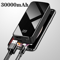 Power Bank 30000mAh Powerbank External Battery Portable Fast Charger for All Smartphone with Charger Bank Full Screen Waterproof