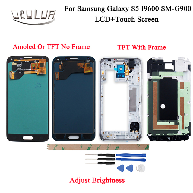 ocolor For Samsung Galaxy S5 I9600 SM G900 G900F G900M Amoled LCD Display and Touch Screen With Frame +Tools Adjust Brightness