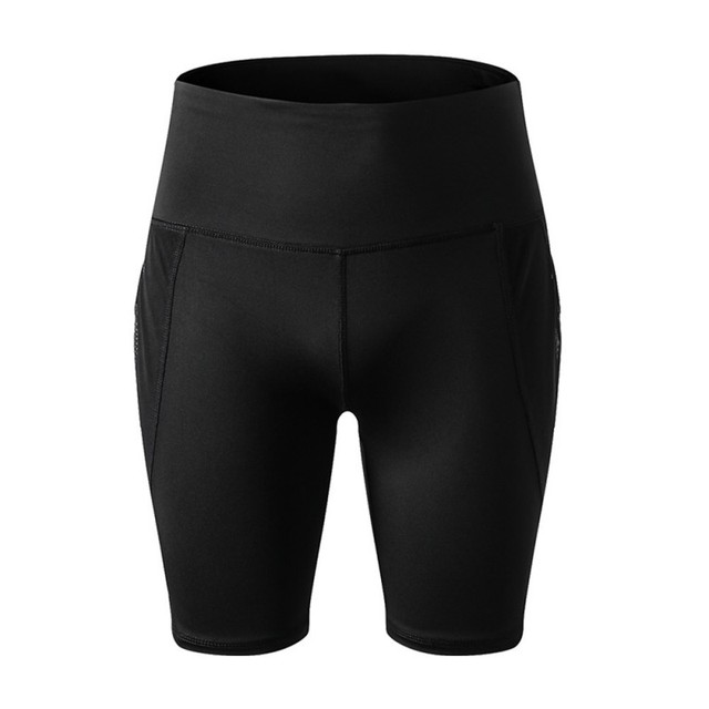 Women High Waist Yoga Shorts Running Gym Fitness Quick Dry Elastic Pants with Mesh Pocket Summer Outdoor Sports Shorts 4