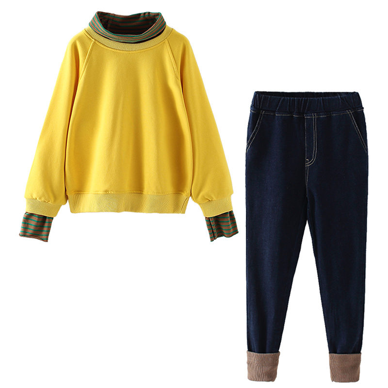 Купить с кэшбэком Girls New Fashion Suit Turtleneck Striped Patchwork Solid Top Denim Trousers Set Cotton Pullover Sweater Casual Clothes for Kids