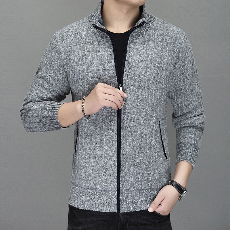 2019 Men's New Knitting Cardigan Collar Stripe Jacquard Velvet Thickening Youth Wholesale Sweater Coat