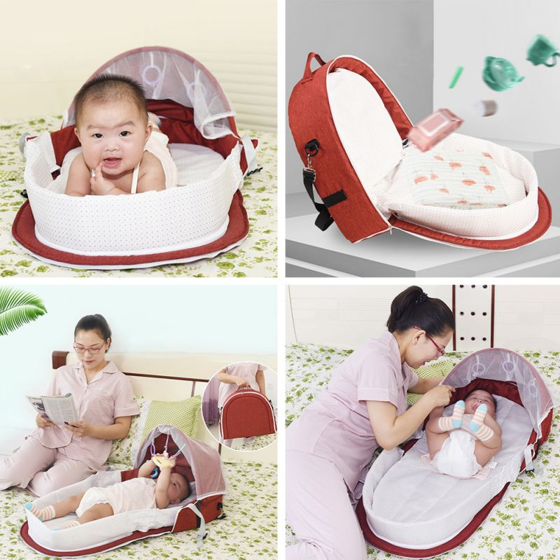 Infant Baby Travel Beds Sun Protection Mosquito Net Breathable Baby Bed Sleeping Basket With Toys