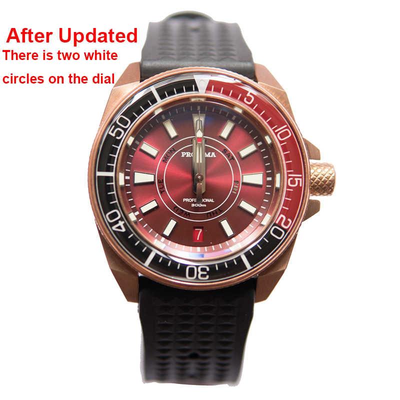 Proxima新男性機械式腕時計高級トップブランドブロンズサファイアNH36サメ自動200メートルダイバー男性aaa時計