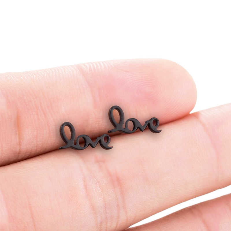 Smjel adorável carta brincos de aço inoxidável novo amor geométrico coração brincos jóias namorada presente pendientes