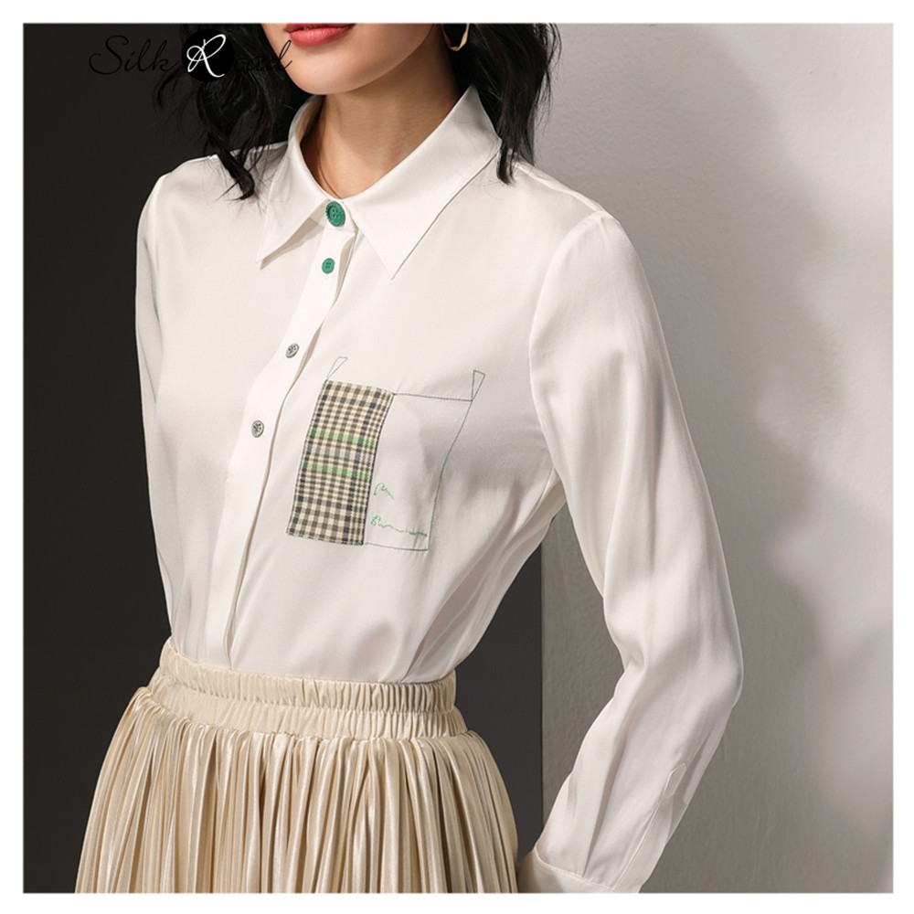 Silviye Special pocket silk shirt women's silk design sense small white top long sleeve shirt 2020 NEW