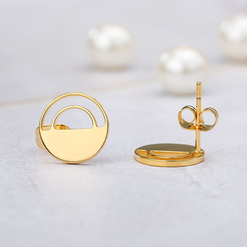Geometric Round Earrings For Women Wedding Jewelry Stainless Steel Circle Ear Studs