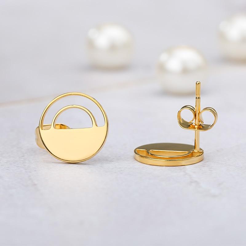 Geometric Round Earrings For Women Wedding Jewelry Stainless Steel Circle Ear Studs