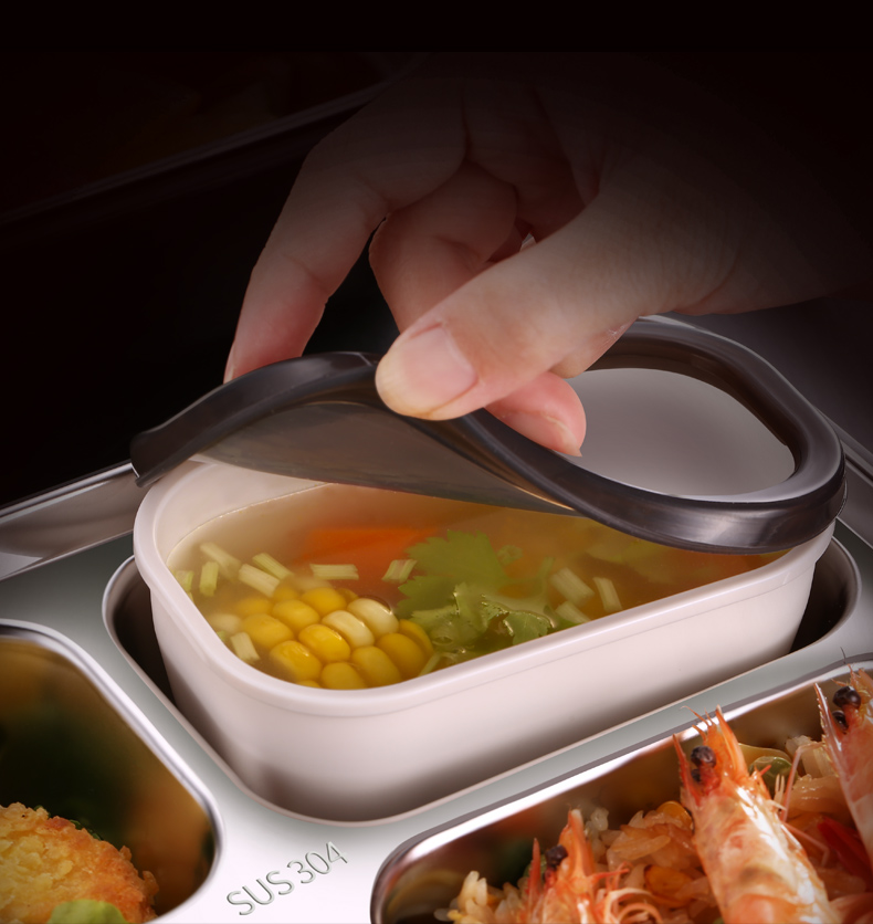 Kunzhan Stainless Steel Lunch Box with Dividers Leakproof Food Bento Container with Spoons or Chopsticks for Kids Student