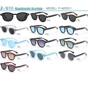 Image 4 - IVSTA Johnny Depp Glasses Men Handmade Acetate Frame Polarized Sunglasses Round Luxury Brand Optical Myopia Prescription Logo