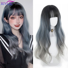 Lolita Wig Female Long Hair Gradient Long Curly Hair Grey Blue Color Fake Hair With Bangs Cosplay Water Wave Synthetic Hair(China)