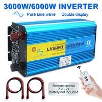무선 제어 6000w 전압 변압기 순수 사인파 태양 광 인버터 DC 12V/24V AC 220V/230V/240V 2 LED 디스플레이 3.1A USB