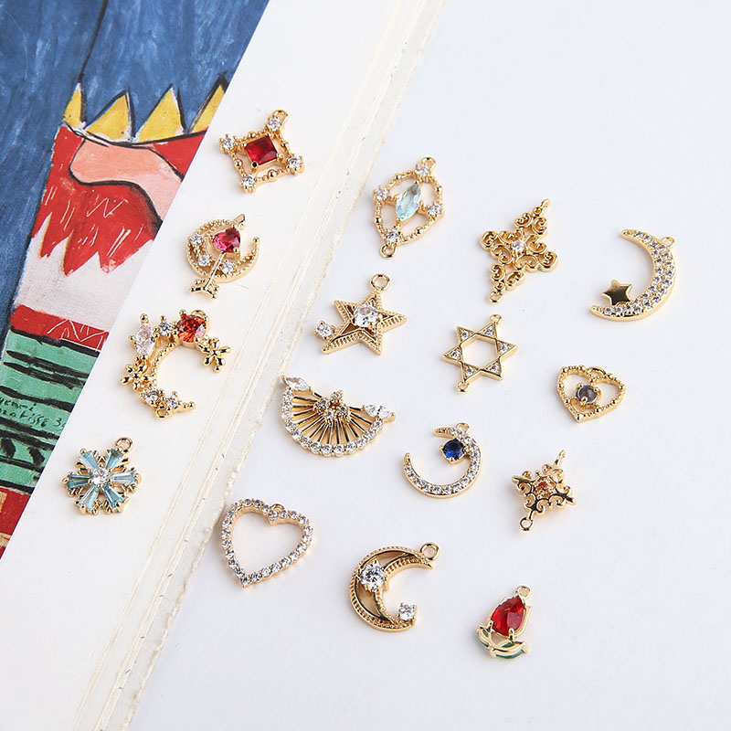 DIY Accessories Gold Plated Copper Micro Zircon Heart Five-pointed Star Moon Cross Ear Stud Pendant Material