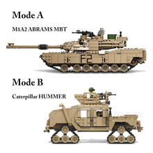 цены Compatible Creator Military M1A2 Abrams MBT Tank Cannon Deformation Hummer Soldier Mini Figures Building Blocks Toys Kids Gift