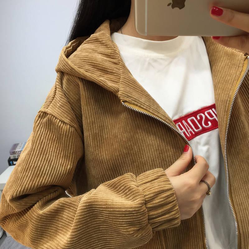 H1cf03c19dee34c71800f56b209b20588z Jacket Chaqueta Coat  Clothes Streetwear New 2019 Women Jacket Long Sleeve Turn-down Collar Outerwear Brown Corduroy Coat Jacket