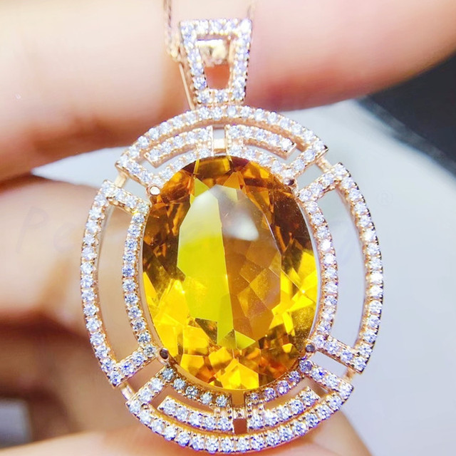 Natural Citrine Rare AAA Grade Crystal Pendant #4 Highest Form Of Sterling Silver 925 Necklace