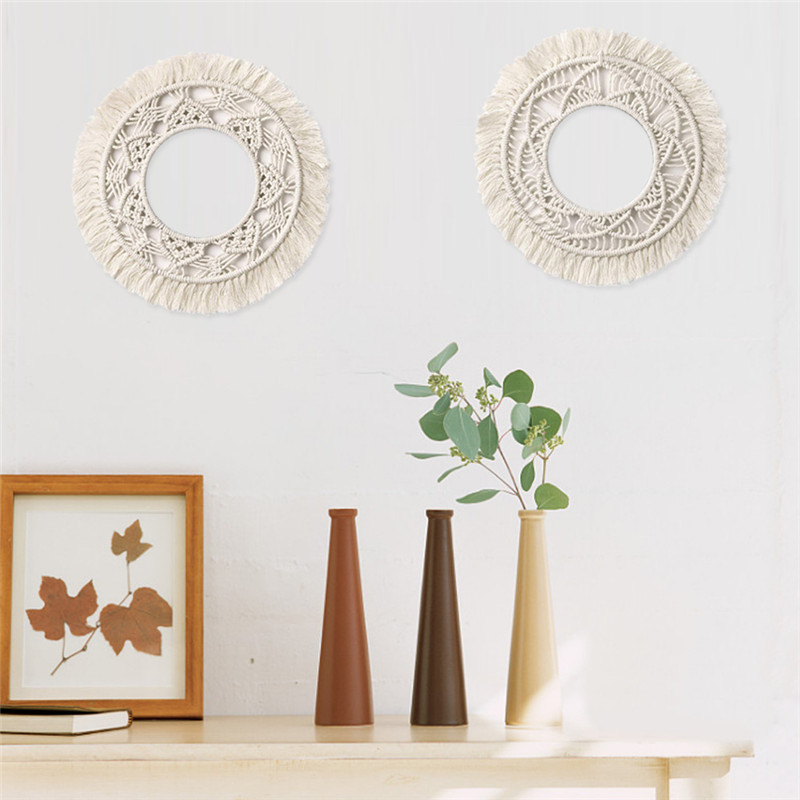 Bohemian Round Macrame Wall Hanging Cotton Rope Wall Art Boho Home Decor Hand-woven Mandala Tapestry Wall Hanging Christmas Gift
