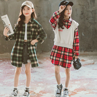 Kids Tracksuit 2020 School Girls Costume Children Clothing Set Plaid Shirt Vest Suits For Girls Clothes 6 8 10 12 Years Teenager