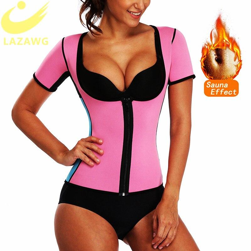 LAZAWG Women Hot Neoprene Shirt Sauna Sweat Top Waist Trainer Body Shaper Slim Gym Workoutout Sport Running Cloth Vest