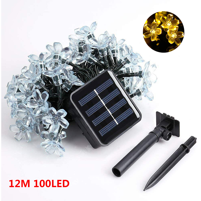 LEADLY 100 LED Solar Light 12M Bee Garland Lights String Drops Cherry Blossoms Led Lights Outdoor String Lights Decor Solar Lamp