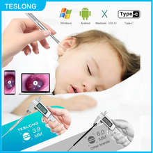 TESLONG 3.9mm Ear Otoscope Endoscope Camera Earwax Removal Tools 3 IN 1 Borescope Ear Cleaning Tool Type-C PC Android 6 Leds
